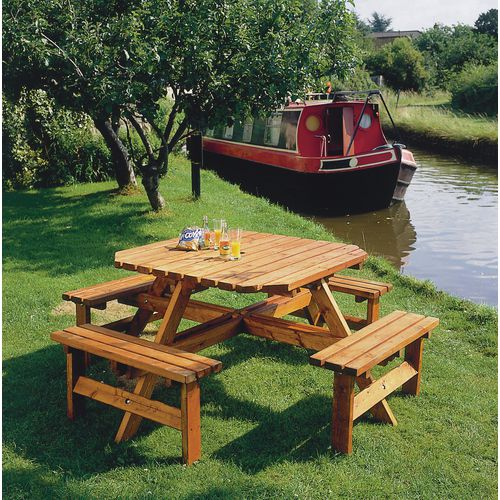 Octagonal wooden picnic table