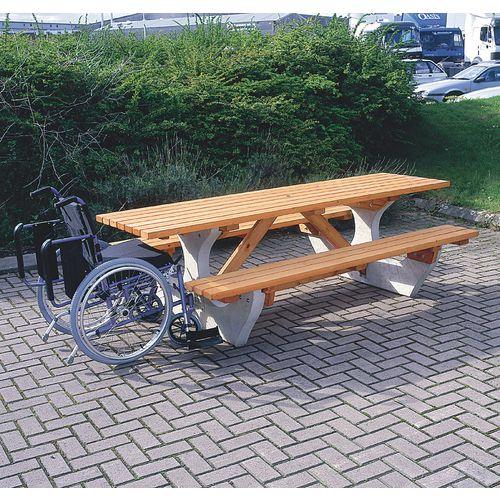 Rectangular concrete picnic tables