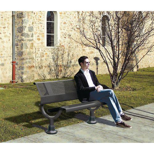 Heavy duty outdoor steel bench
