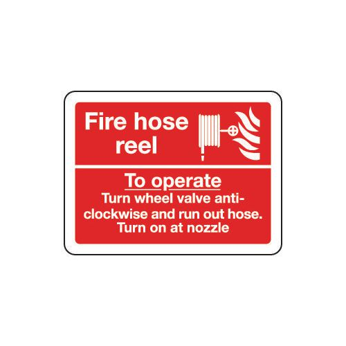 Fire hose reel sign - to operate