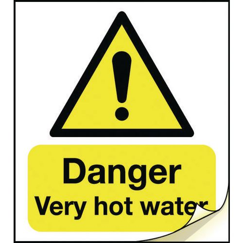 General safety labels - Danger very hot water