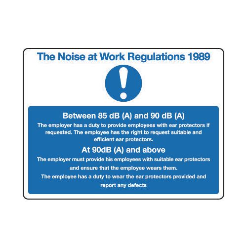 The Noise At Work Regulations 1989 Sign General
