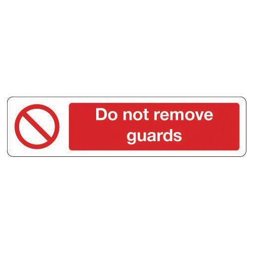 Mini prohibition signs - Do not remove guards