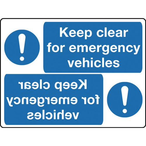 Mirror signs header - Keep clear for emergency vehicles
