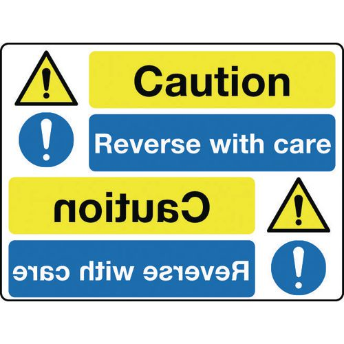 Mirror signs header - Caution reverse with care