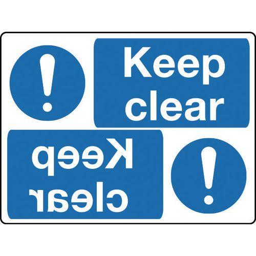 Mirror signs header - Keep clear