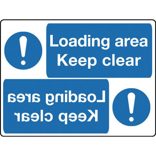 Mirror signs header - Loading area keep clear