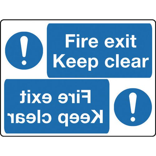Mirror signs header - Fire exit keep clear