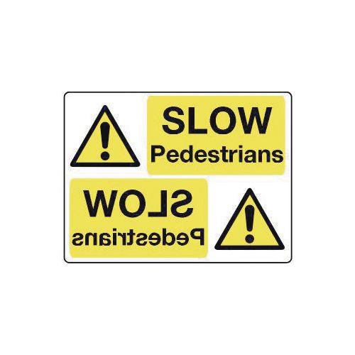 Mirror signs header - Slow pedestrians