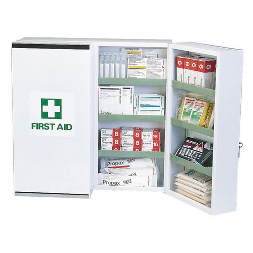 Metal locking first aid cabinet