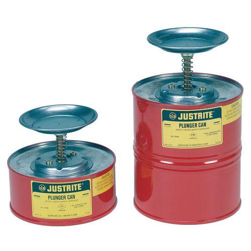 Justrite metal & polyethylene plunger cans