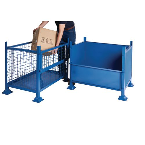 Steel box pallets with half drop side, 1000kg capacity