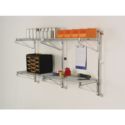 Wall mounted wire shelves (brackets and posts sold separately)