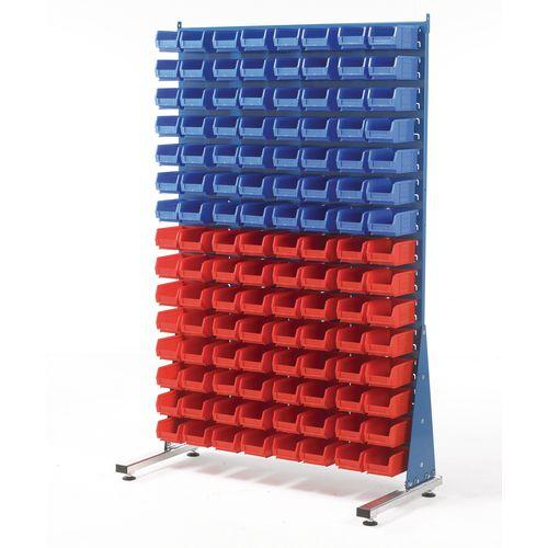 Single-sided louvre panel racks, with bins