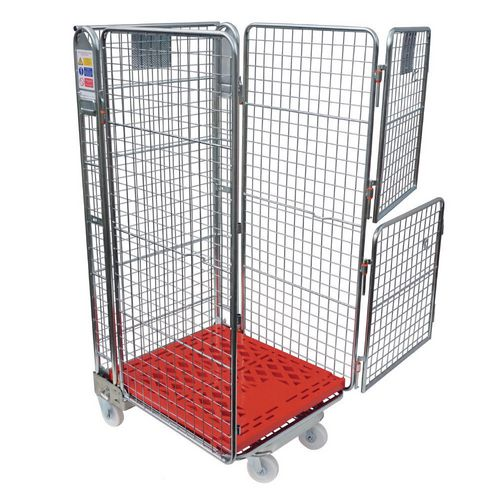 Nestable 'A' frame roll containers with mesh panels