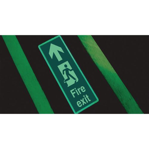 Photoluminescent floor mounted sign