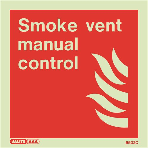 Photoluminescent Fire fighting equipment notices - Smoke vent manual control