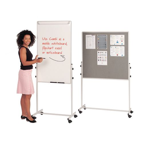 Combination Mobile flip chart easel and whiteboard with felt noticeboard