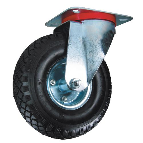 Castors with pressed steel centre, pneumatic tyred wheels - swivel