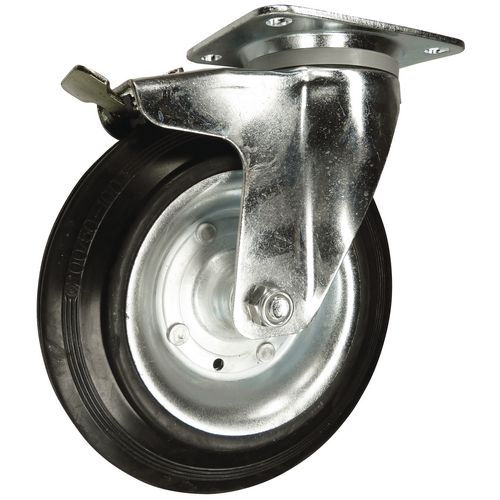 Castors for waste containers, black rubber tyred wheel - total-stop brake