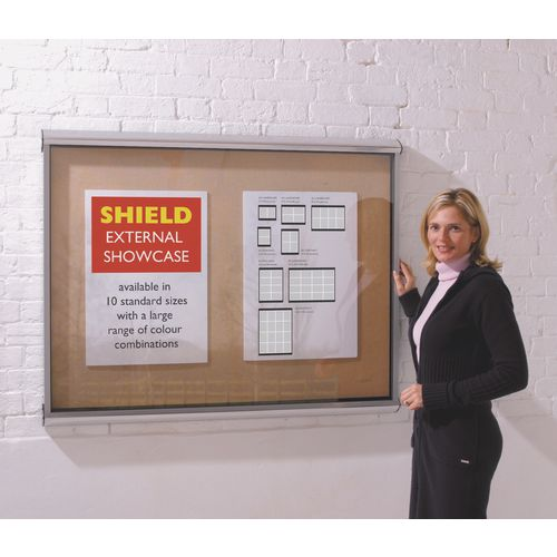 Shield® External lockable IP55 noticeboard showcase - Aluminium frame