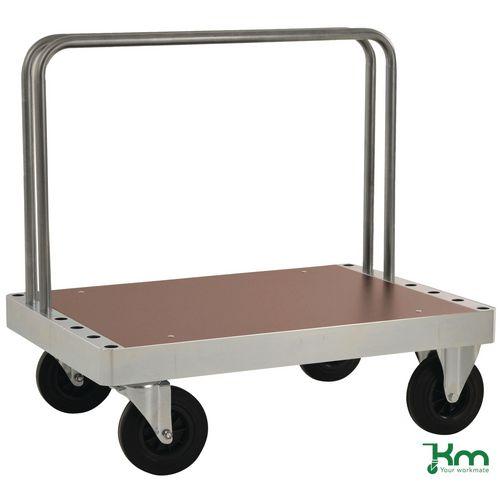 Konga extra heavy zinc plated board trolley with laminate shelf