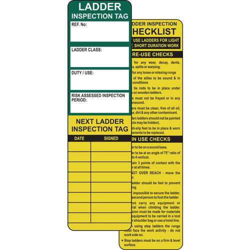 Ladder safety management tags - refill packs