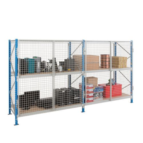 Heavy duty security cage shelving, with chipboard decks