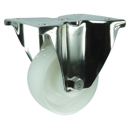 Stainless steel, nylon wheel, plate fixing, medium duty - fixed