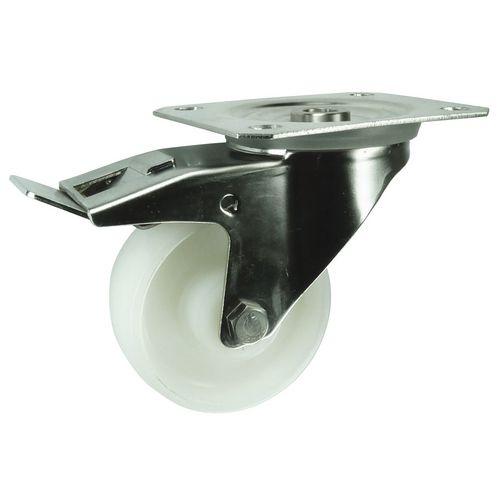 Stainless steel, nylon wheel, plate fixing, medium duty - swivel with total brake