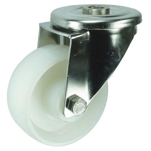 Stainless steel, nylon wheel, single hole fixing, medium duty - swivel