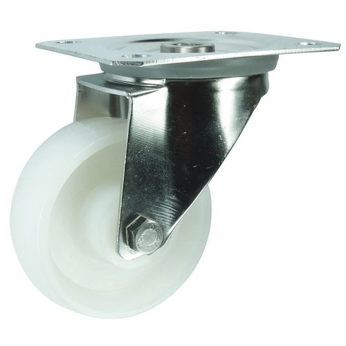 Stainless steel, nylon wheel, plate fixing, medium duty - swivel