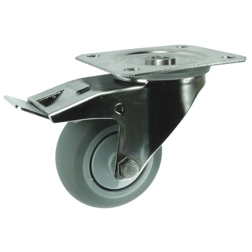 Stainless steel, grey rubber tyred wheel, plate fixing, medium duty - swivel with total stop