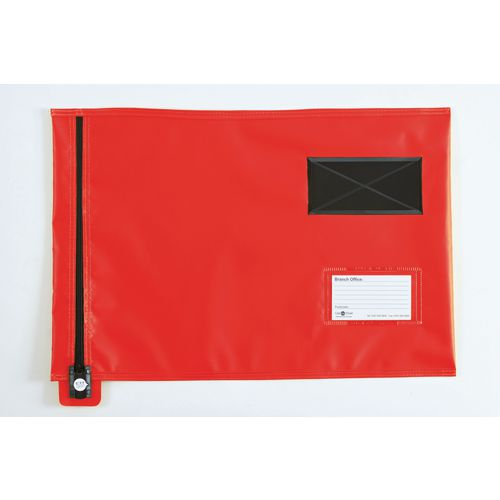 Reusable tamper evident mailing pouches, flat with short zips