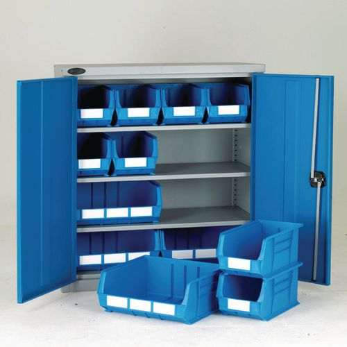 Half-height storage bin cupboards - 3 shelves, 12 bins