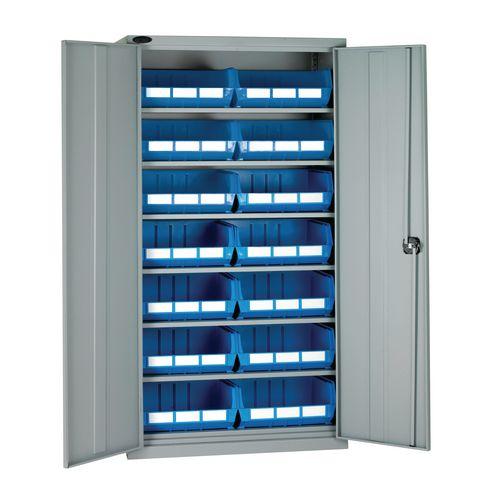 Full-height storage bin cupboards