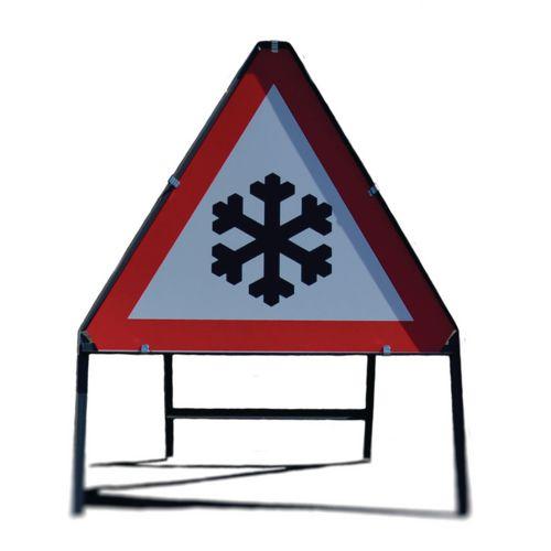 Winter hazard warning sign