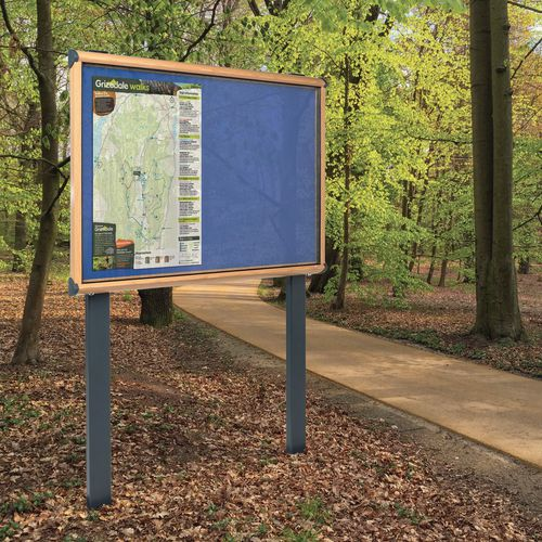 Shield® Light oak effect post mounted outdoor noticeboard