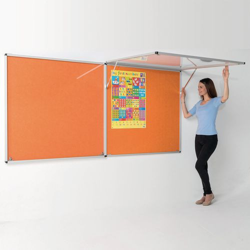 Eco-colour™ Top hinged fire resistant tamperproof lockable office noticeboards