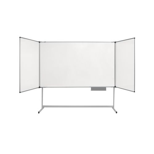 Triple panel whiteboard on fixed stand