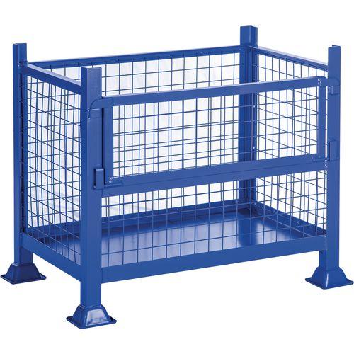 Steel box pallet with half drop side, 500kg capacity