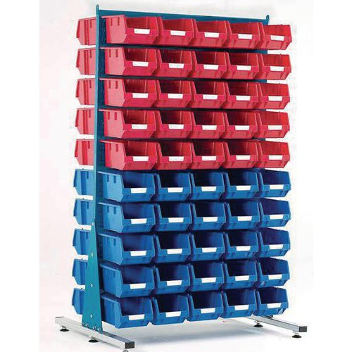 Double-sided louvre panel racks, with bins