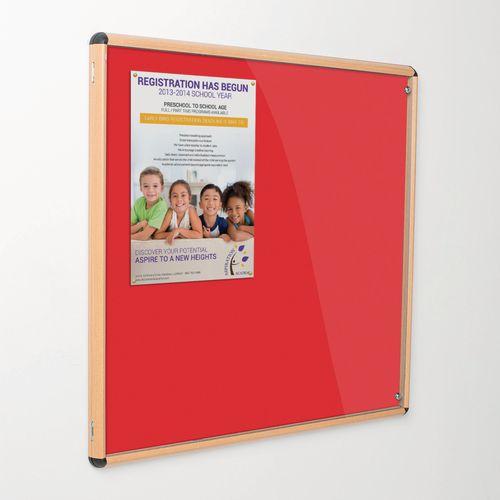 Shield® light oak effect tamperproof slimline lockable office noticeboards