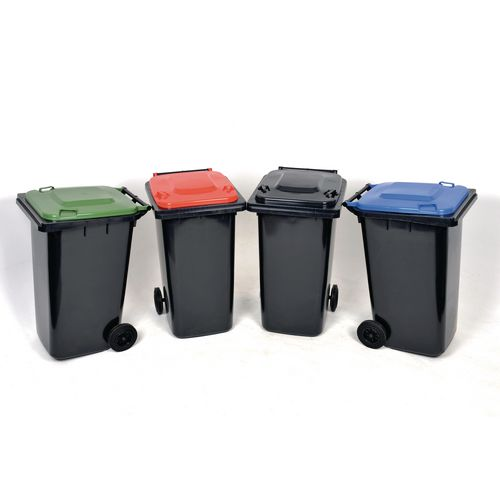 Recycling wheelie bins with grey body and choice of 4 coloured lids