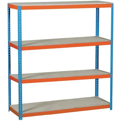 High capacity steel boltless shelving, with chipboard decks