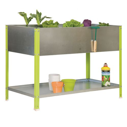 Raised garden planters with shelf
