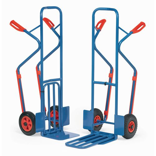 Fetra tubular steel sack truck with stair glides, fixed & folding toe plates