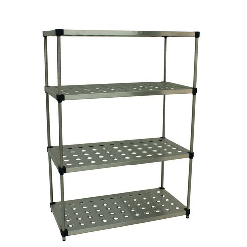 Slingsby solid and perforated stainless steel shelving