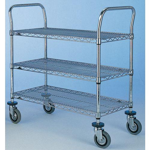 Chrome open wire shelf trolleys