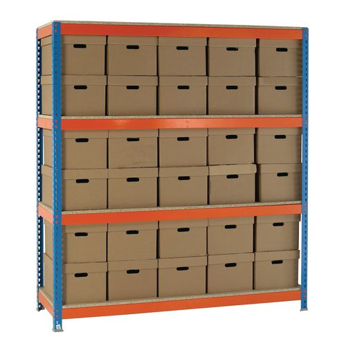 Heavy duty boltless archive storage with heavy duty cardboard boxes